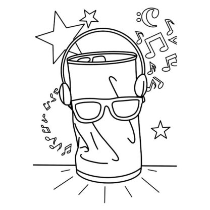 Dancing Soda Can Free Colouring Page