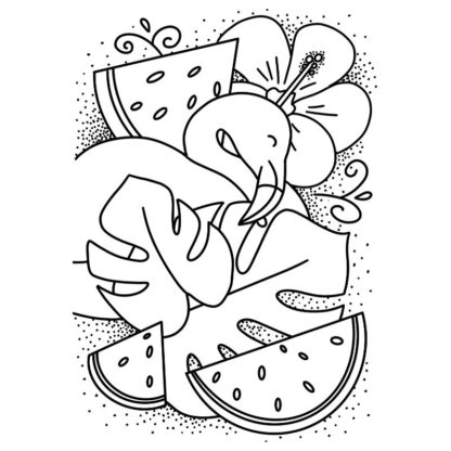 Tropical Flamingo Watermelon Free Colouring Page
