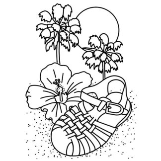 Jelly Sandals Free Colouring Page