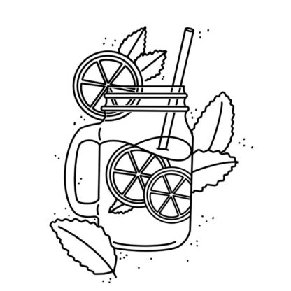 Lemon Ice Tea - Free Colouring Page
