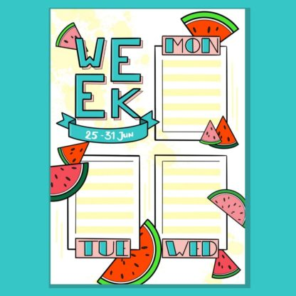Printable Bullet Journal Weekly Spread Watermelon 01