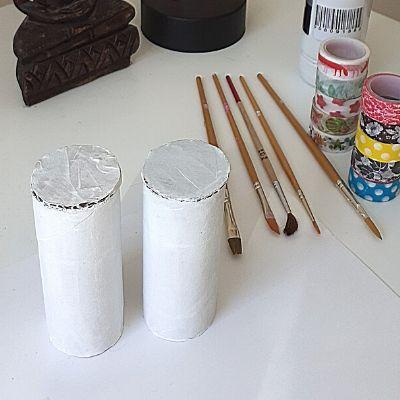 Washi Tape DIY Storage Toilet Paper Rolls. Step 2: paint rolls