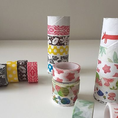 Washi Tape DIY Storage Toilet Paper Rolls. Step 3: decorate rolls with washi tape