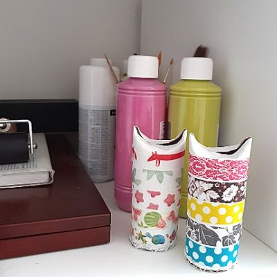 Washi Tape DIY Storage Toilet Paper Rolls. Step 4: store tape and close rolls