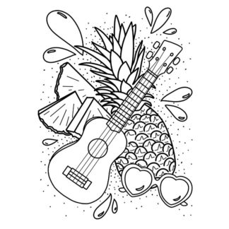 Pineapple Ukulele Sunglasses - Free Colouring Page