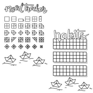 Planner Journal Printable - Origami Habit and mood tracker