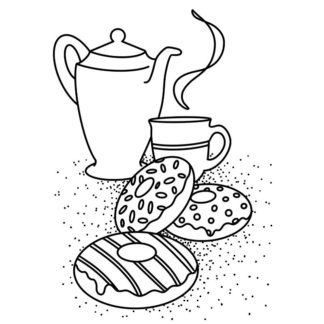donuts and tea free colouring page