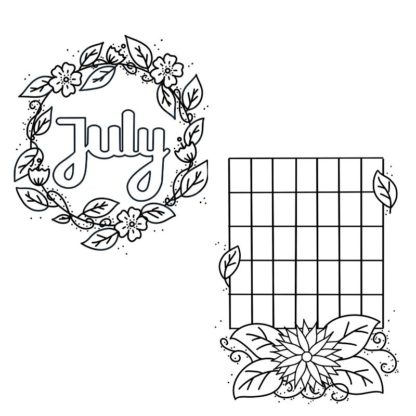 july plants monthly bullet journal printable cover 1