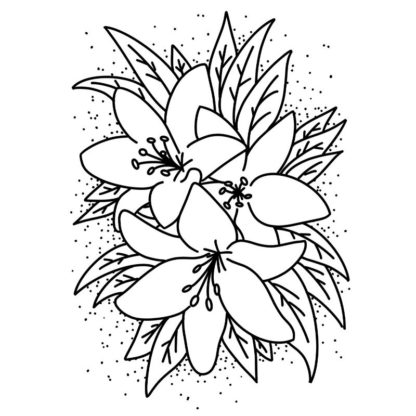 lilies free colouring page