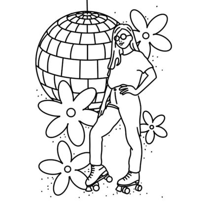 Roller Disco Free Colouring Page