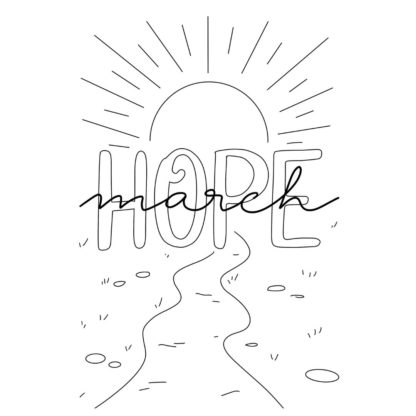sunset river hope march bujo cover page template