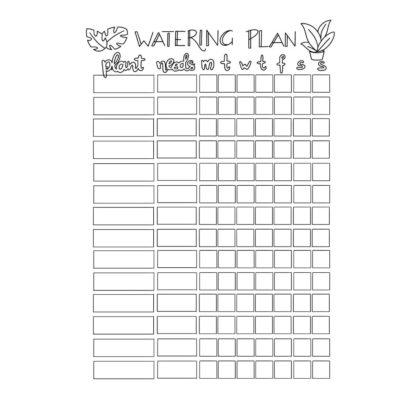 plant watering schedule printable